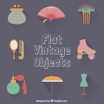 Flat vintage objects