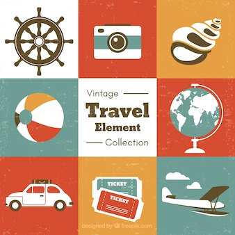 Flat vintage travel elements pack