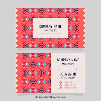 Flat visiting card in boho style