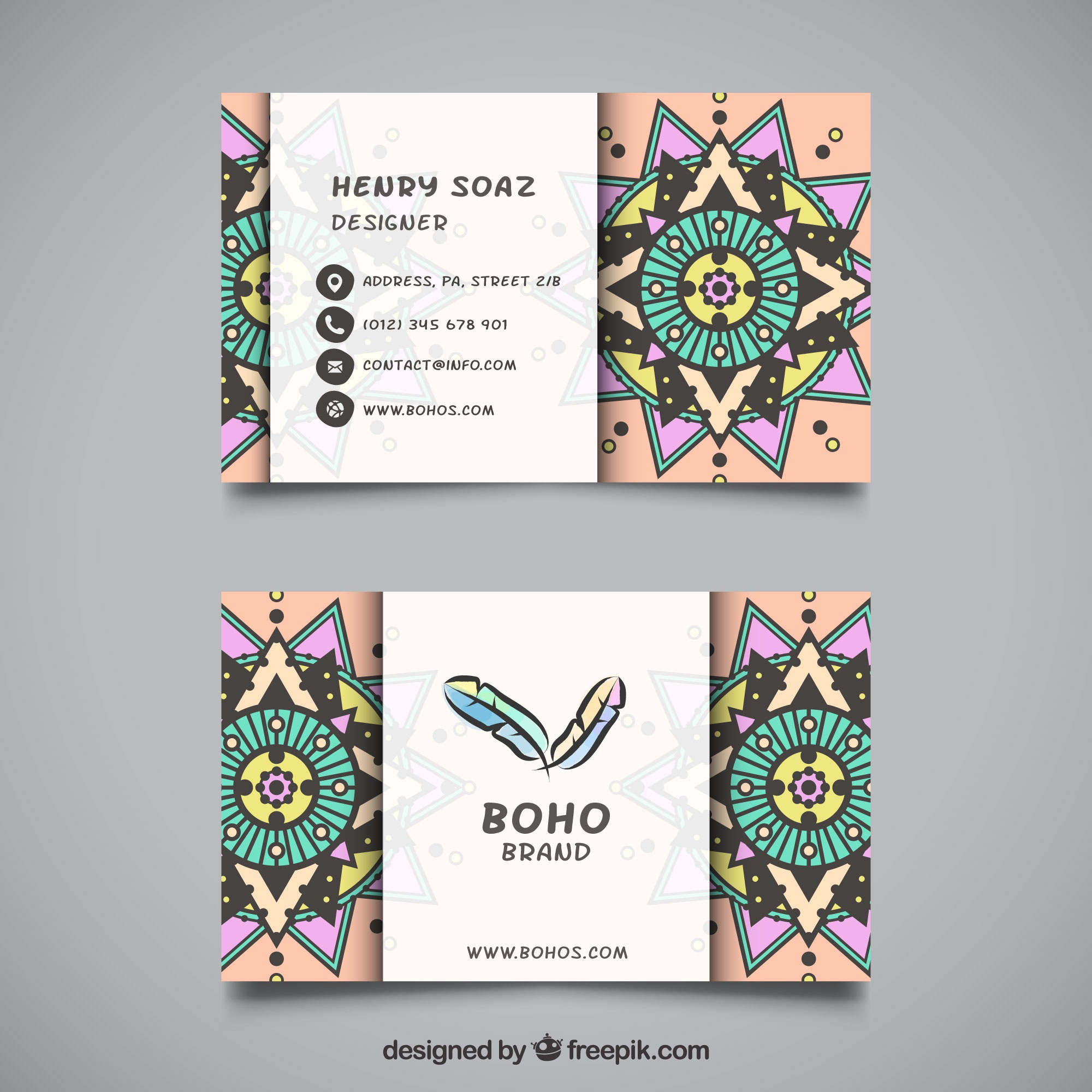 Flat visiting card with ornamental decoration