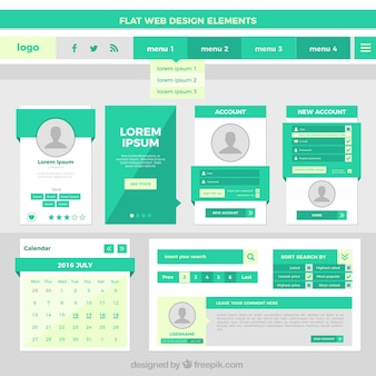 Flat web design elements in green color