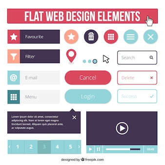 Flat web element collection in colors