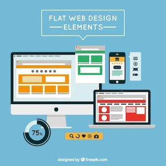 Flat web elements and screens