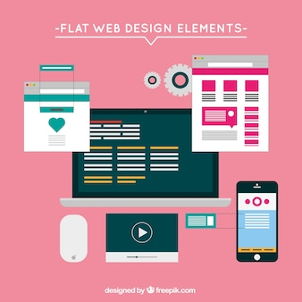 Flat website elements with screens set