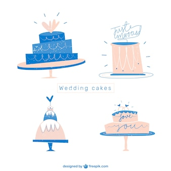 Flat Wedding Cakes Set