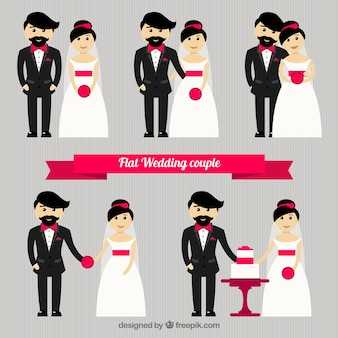 Flat wedding couple