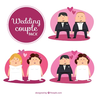 Flat Wedding Couples Set
