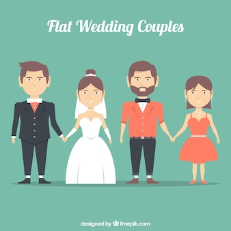 Flat wedding couples