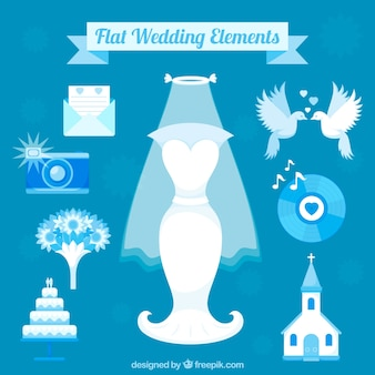 Flat wedding elements in blue tones