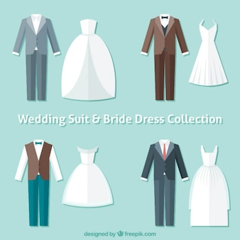 Flat wedding suits and bride dresses