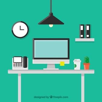 Flat workplace background
