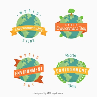 Flat world environment day stickers with decorative ribbons
