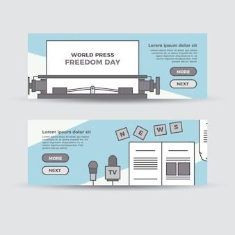 Flat world press freedom banners