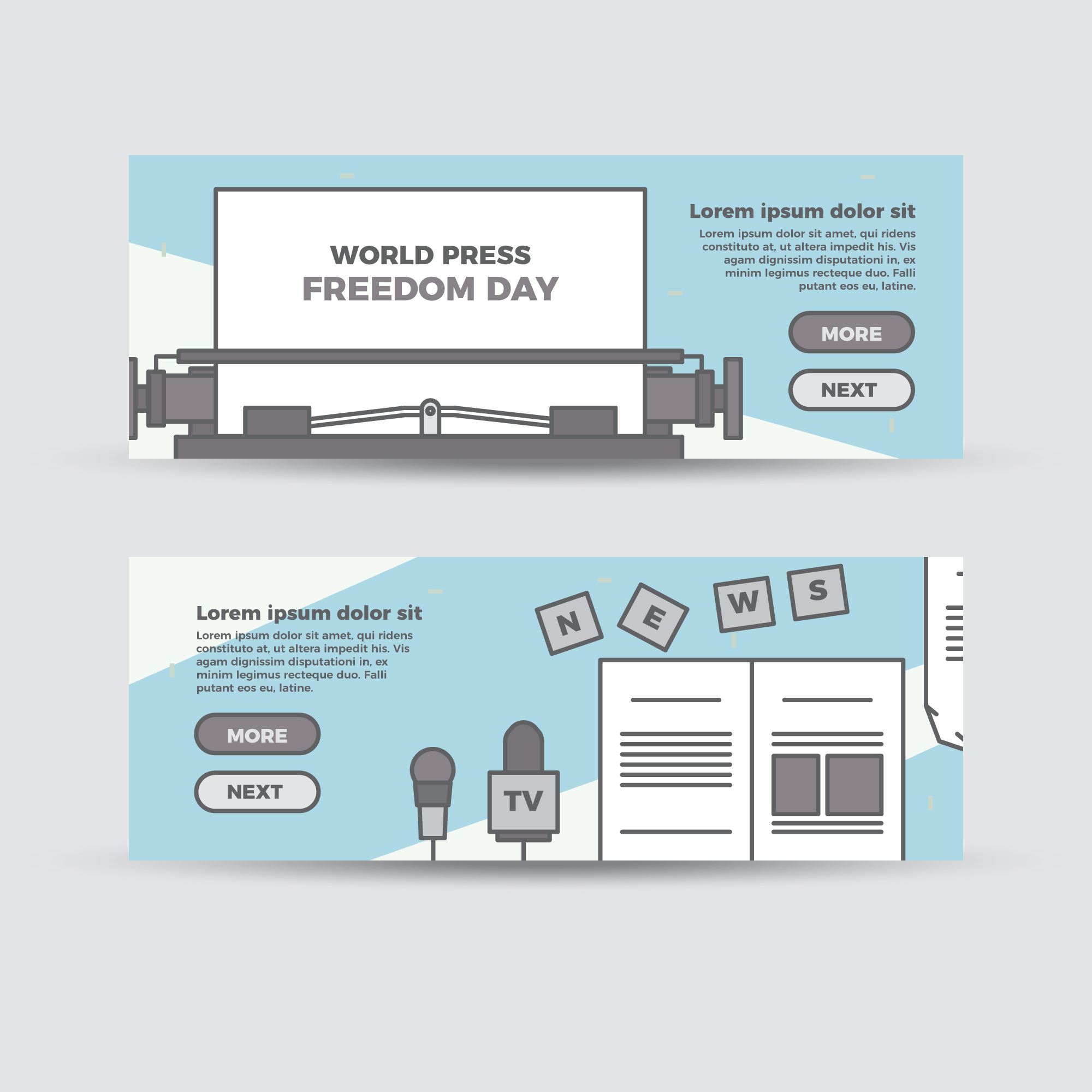 Flat world press freedom banners