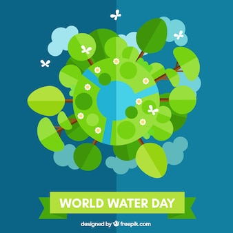 Flat World Water Day background