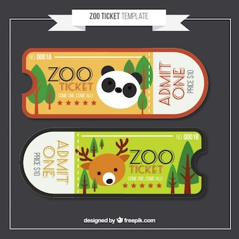 Flat zoo tickets with panda and deer