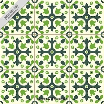 Floor tile in green tones