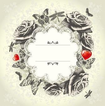 floral & lace vintage vector background