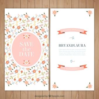 花と美しい結婚式の招待状