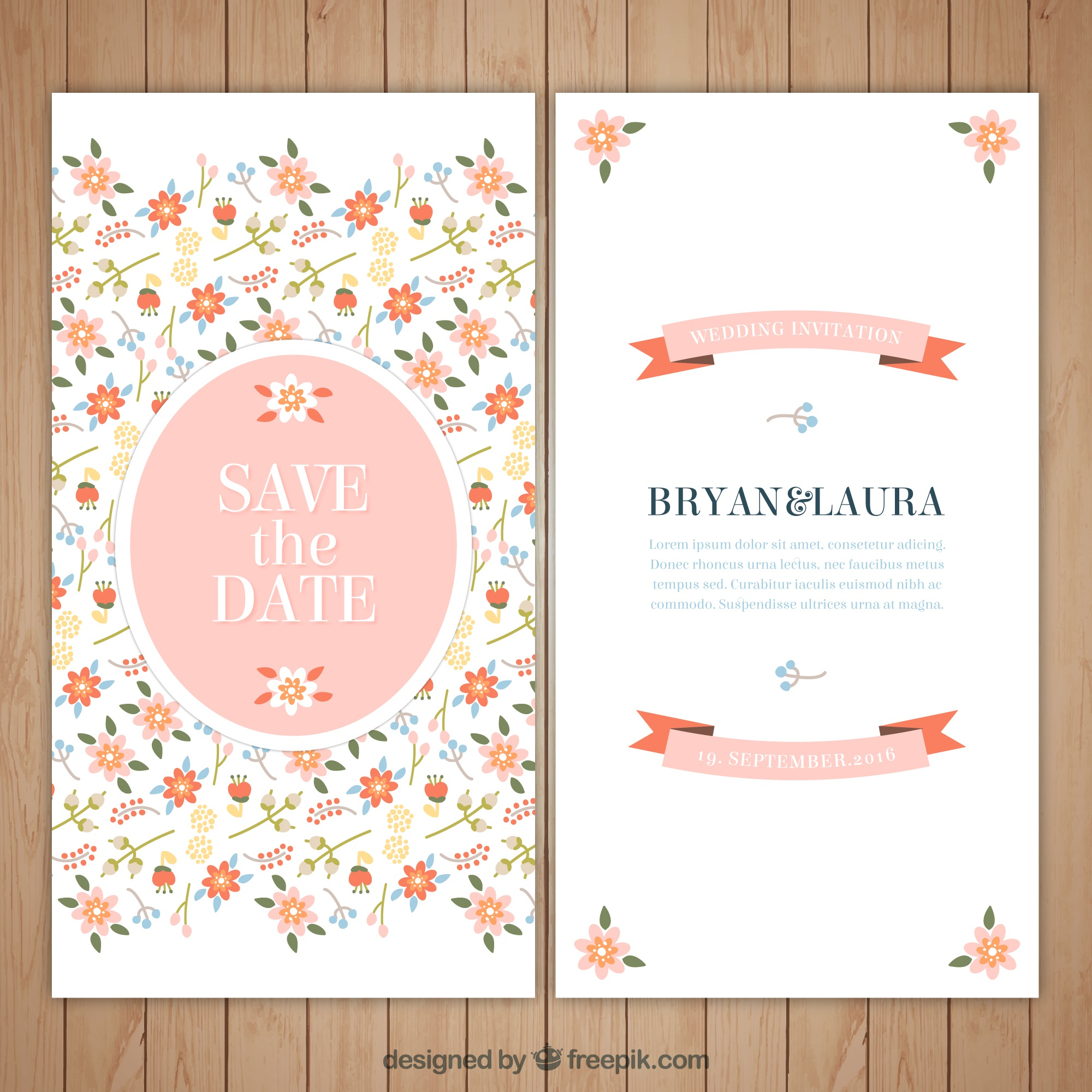 Floral and beautiful wedding invitation