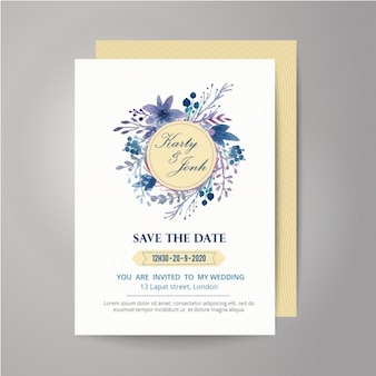 Floral and ribbon wedding invitation design
