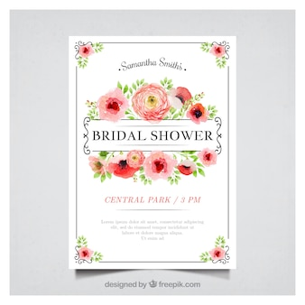 Floral bachelorette invitation in watercolor style