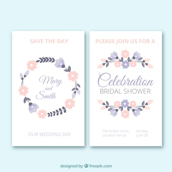 Floral bachelorette invitations in pastel colors