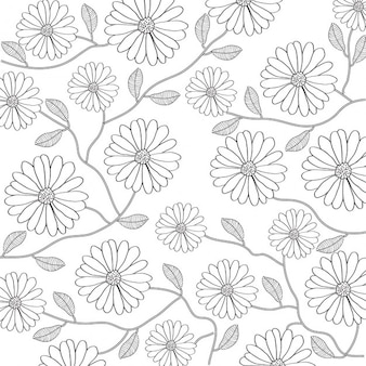 Floral background in black and white