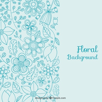 Floral background in blue tones