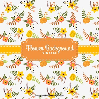floral background in yellow and orange tones