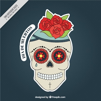 Floral background of hand drawn skull