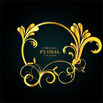 Floral background with a circular golden frame