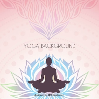 Floral background with a yoga silhouette