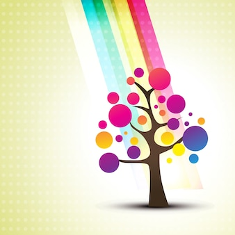 Floral background with abstract colorful tree