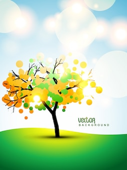 Floral background with autumn tree