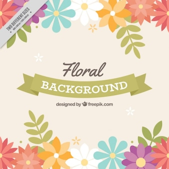 Floral background with beautiful colorful flowers