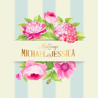 Floral background with blue stripes