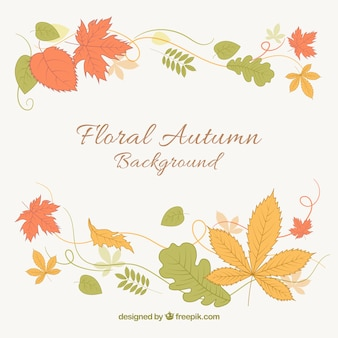 Floral background with colorful leaves
