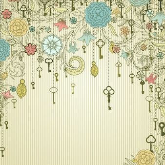 Floral background with keys