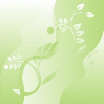 Floral background with leaves and waves