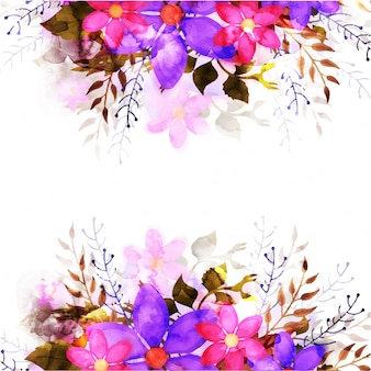 Floral background with pink and purple watercolor flowers.