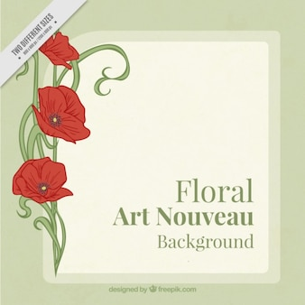 Floral background with poppies in art nouveau style