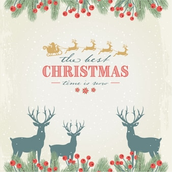 Floral background with snow and reindeers for christmas