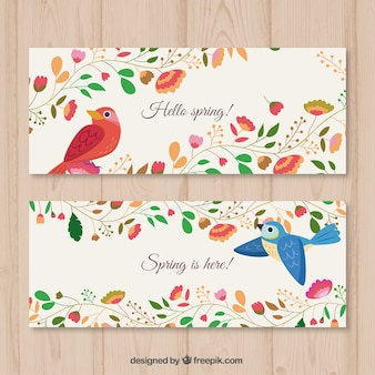 Floral banners with birds