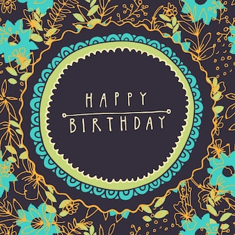 Floral birthday card with blue flowers
