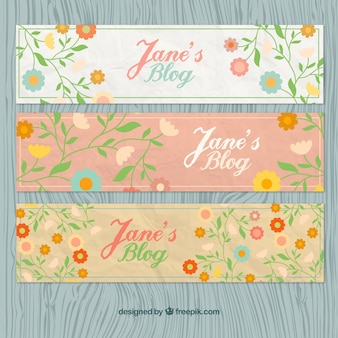 Floral blog headers in vintage style