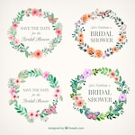 Floral bridal shower frames painted with watercolor