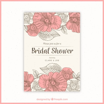 Floral bridal shower invitation in vintage style