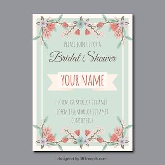 ヴィンテージスタイルで花のブライダルシャワーの招待状