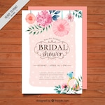 Floral bridal shower invitation painted with watercolor
